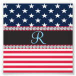 USA Stars and Stripes Diamond 3d Monogram Initial Photo