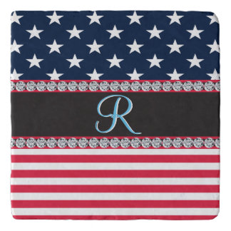 USA Stars and Stripes Diamond 3d Monogram Initial Trivet