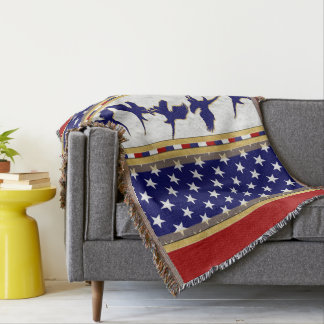 USA Stars Blue Bald Eagle Throw Blanket