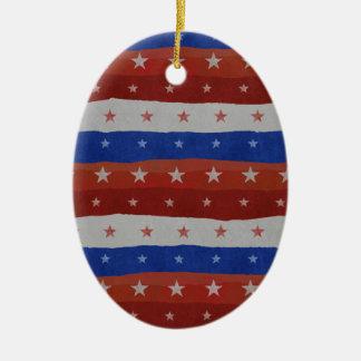 USA Stars Pattern Ceramic Oval Ornament