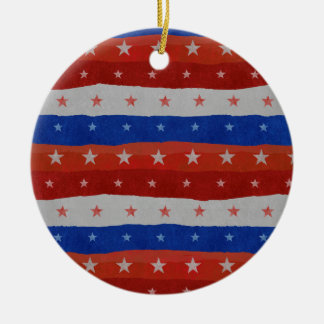 USA Stars Pattern Round Ceramic Ornament