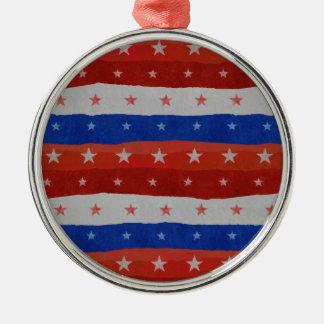 USA Stars Pattern Silver-Colored Round Ornament