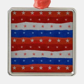 USA Stars Pattern Silver-Colored Square Ornament
