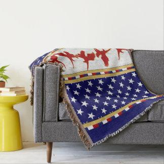 USA Stars Red Bald Eagle Throw Blanket