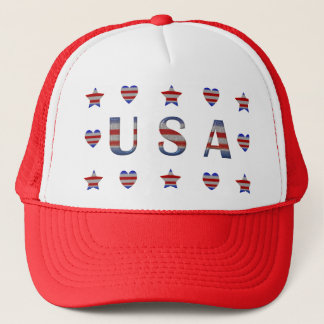 USA  Stars, Stripes & Hearts Patriotic Trucker Hat