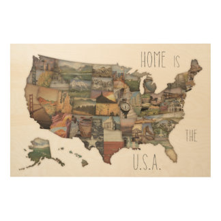 USA State Collage Wood Print