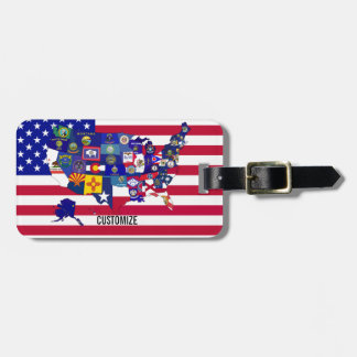 USA State Flags Map Luggage tag
