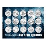 USA State Quarters (Coins) 2002 - 2004 Postcard
