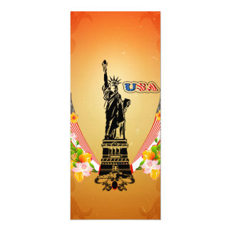 """USA Statue of Liberty, flags and flowers 4"""" X 9.25"""" Invitation Card"""
