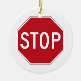 USA Stop Sign Ceramic Ornament