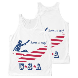 USA surfing American surfer All-Over-Print Tank Top