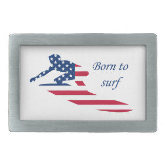 USA surfing American surfer Rectangular Belt Buckle