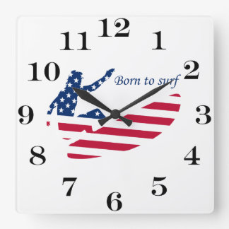 USA surfing American surfer Square Wall Clock