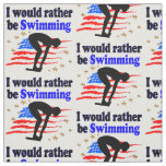 USA SWIMMER DESIGN I WOULD RATHER BE SWIMMING FABRIC