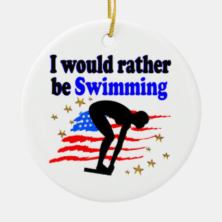 USA SWIMMER DESIGN I WOULD RATHER BE SWIMMING ROUND CERAMIC ORNAMENT