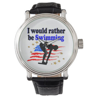 USA SWIMMER DESIGN I WOULD RATHER BE SWIMMING WRISTWATCHES