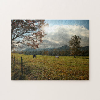 USA, Tennessee. Horses In Cades Cove Valley Puzzle