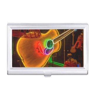 USA, Texas, Austin. Neon Guitar At Blackmail Business Card Holders
