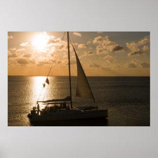 USA, Texas, South Padre Island. Sailboat Poster