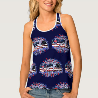 USA text flag glitters fireworks Happy 4th of July Tank Top