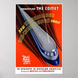 USA The Comet Vintage Travel Poster Restored