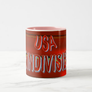 USA THE INDIVISIBLES Red White PINK Blue Two-Tone Coffee Mug