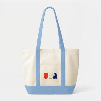 USA Tote Bag with Light Blue Trim