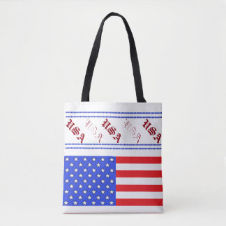 USA Tote Bags Fourth of July Red White Blue Picnic
