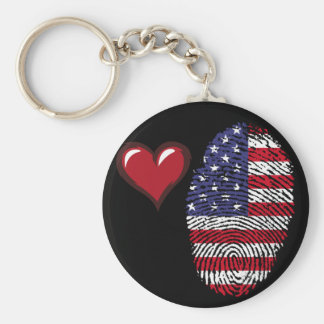 Usa touch fingerprint flag basic round button keychain