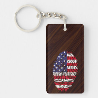 Usa touch fingerprint flag Double-Sided rectangular acrylic keychain