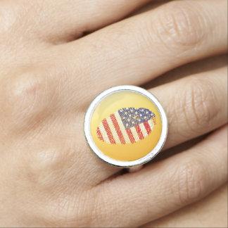 Usa touch fingerprint flag ring