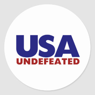 USA UNDEFEATED ROUND STICKERS