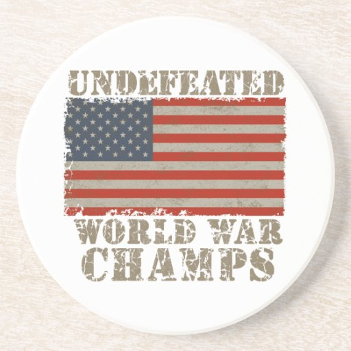 USA, Undefeated World War Champions Beverage Coasters
