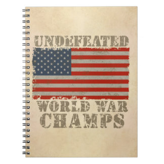 USA Undefeated World War Champions Spiral Note Book