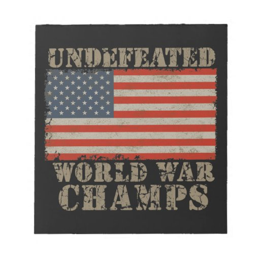 USA, Undefeated World War Champions Memo Note Pads