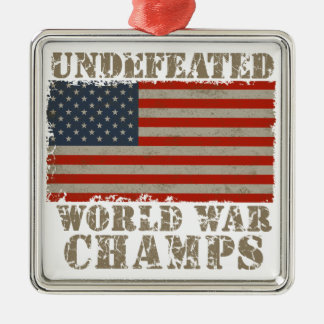 USA, Undefeated World War Champions Square Metal Christmas Ornament