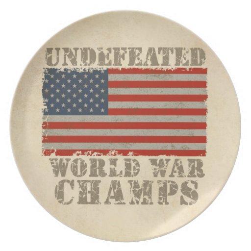 USA, Undefeated World War Champions Dinner Plates
