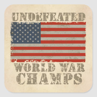 USA Undefeated World War Champions Square Sticker