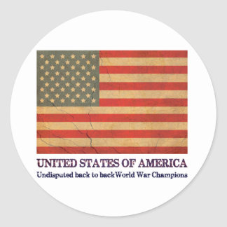 USA Undisputed back to back world war champions Round Sticker
