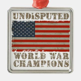 USA, Undisputed World War Champions Silver-Colored Square Ornament