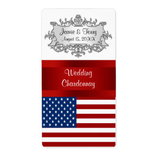 USA United States Flag Event Party Wine Label Shipping Label