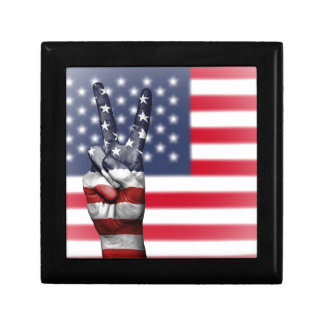 Usa United States Us America Peace Hand Nation Gift Box
