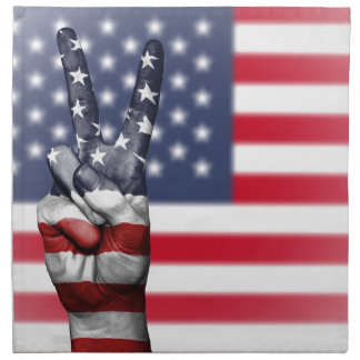 Usa United States Us America Peace Hand Nation Napkin