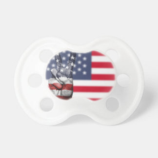 Usa United States Us America Peace Hand Nation Pacifier