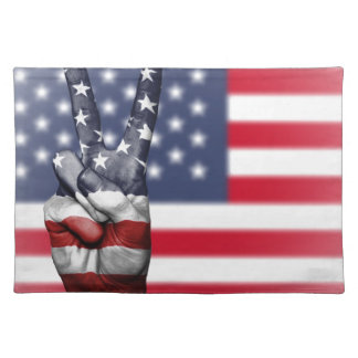 Usa United States Us America Peace Hand Nation Placemat