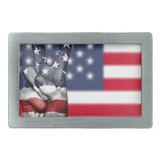 Usa United States Us America Peace Hand Nation Rectangular Belt Buckle