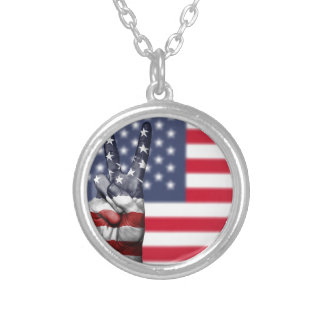 Usa United States Us America Peace Hand Nation Silver Plated Necklace
