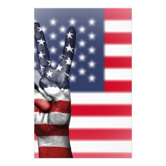 Usa United States Us America Peace Hand Nation Stationery