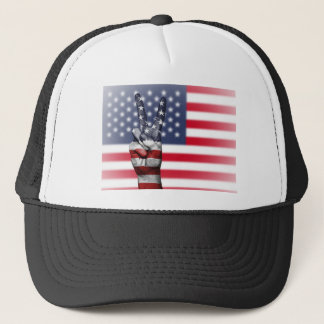 Usa United States Us America Peace Hand Nation Trucker Hat