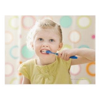 USA, Utah, Lehi, girl (2-3) brushing teeth Postcard